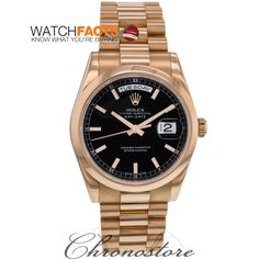 81d495c2bf0 This black face Rolex DayDate is Certified by WatchFacts and available from  our trusted dealer