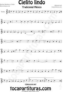 Partitura de Cielito Lindo de Violín Cielito Lindo Sheet Music for Violin…