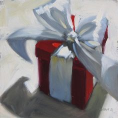 """The Red Gift"" original fine art by Claudia Hammer Christmas Paintings, Christmas Art, Xmas Drawing, Hyper Realistic Paintings, Fine Art Gallery, Box Art, Painting Inspiration, Watercolor Art, Art Drawings"