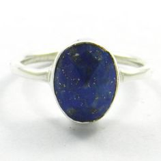 Amazing Bezel Set Lapis Lazuli 925 Solid Certified Silver Ring Size 6.50 #Handmade #Band