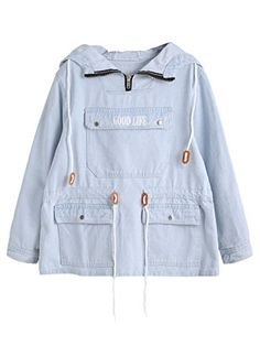 SheIn offers Blue Pocket Front Drawstring Waist Denim Hooded Sweatshirt & more to fit your fashionable needs. Girls Fashion Clothes, Teen Fashion Outfits, Ladies Fashion, Fashion Dresses, Mode Hijab, Kawaii Clothes, Kawaii Fashion, Cute Casual Outfits, Aesthetic Clothes