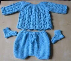 Bonjour à tous, Voici un petit ensemble terminé. Je l'ai tricoté avec de la laine Bambi de Textile de la marque. 3 pelotes ont suffi. Je v...