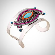 New Ethnic Style Indian Jewelry Antique Silver Big Open Cuff Bangles women Geometric eye shap Bracelets For Women Accessories