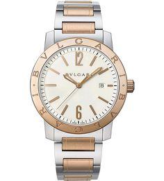 BVLGARI - BVLGARI-BVLGARI Solotempo 18ct pink-gold and steel watch | Selfridges.com
