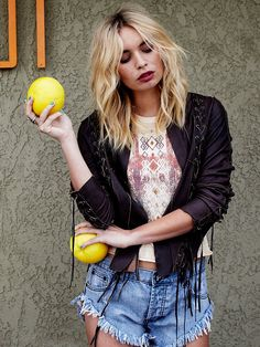 Free People Lace Up Leather Jacket