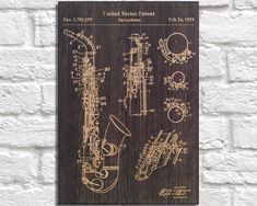 Saxophone Patent poster gift Wind instrument Wood wall art Music room decor Jazz music patent art gift Musician gift Panel effect Wood print by Woodprintz on Etsy #patentartdecor