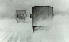 Two Trucks Passing - Christopher Pratt Christopher Pratt, Mary Pratt, Order Of Canada, Glasgow School Of Art, Magic Realism, Newfoundland And Labrador, Photorealism, Canadian Artists, Teaching Art