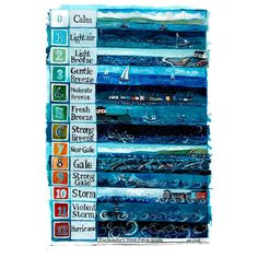 The Beaufort scale is a standardised scale measuring wind speed to observed conditions at sea or on land. Seaside Art, Seaside Theme, Beaufort Scale, Shipping Forecast, Tide Clock, Weather Art, Nautical Quilt, Scale Art, Stormy Sea