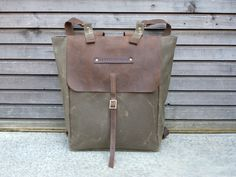 Waxed canvas rucksack/backpack with waxed leather shoulderstrap,handle COLLECTION UNISEX. $198.00, via Etsy.