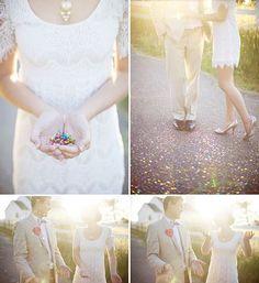Bride Groom and Confetti