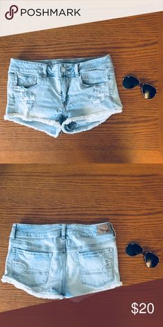 American Eagle Denim Fringe Shorts American Eagle short shorts in light denim. Very rarely worn. American Eagle Shorts, American Eagle Outfitters Shorts, Boho Outfits, Fashion Outfits, Fashion Tips, Fashion Trends, Short Fringe, Embroidered Clothes, Blouse Outfit