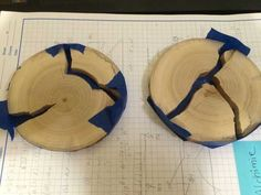 Wood coasters with blue glowing resin inlays - Imgur