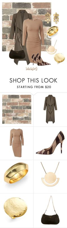 """Brown and Gold"" by leslietaylor9 ❤ liked on Polyvore featuring Wall Pops!, Fever Fish, Salvatore Ferragamo, Josie Natori, Halogen, Argento Vivo and Prada"