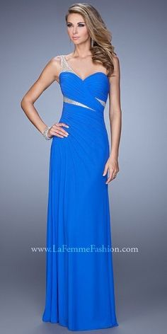 La Femme Asymmetrical Ruched Chiffon Prom Gown #PromDress