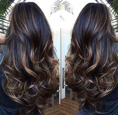40 top balayage for dark hair black and dark brown hair balayage color 2019 guide 035 Brown Hair Balayage, Bayalage, Brown Blonde Hair, Hair Color Balayage, Brunette Hair, Hair Highlights, Dark Hair, Hair Color 2017, Hair Color For Black Hair