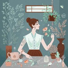'Flora', Digital illustration ©Lisa Perrin 2016
