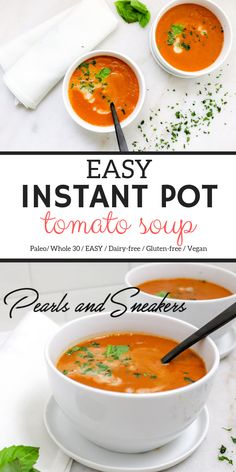 Easy Instant Pot Tomato Soup delicious & easy soup using canned tomatoes an Instant Pot and a blender! Easy Instant Pot Tomato Soup delicious & easy soup using canned tomatoes an Instant Pot and a blender! Paleo Recipes, Real Food Recipes, Soup Recipes, Blender Recipes, Jelly Recipes, Canning Recipes, Smoothie Recipes, Paleo Soup, Paleo Vegan