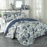 A traditional Jacobean floral in fresh blue and green on white gives theMaldives 3 Piece Quilt Collection by Traditions by Waverly the power to revitalize your bedroom. The set includes a quilt and two matching pillow shams. Waverly Bedding, King Size Quilt, Quilt Sets, Boutique, Duvet Cover Sets, Pillow Covers, Bed Covers, Comforter Sets, Quilts