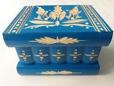 Nueva azul hermosa caja mágica, misteriosa caja, caja puzzle, caja secreta, hecha a mano, casilla complicado, caja de madera tallada, regalo perfecto, juguete de madera