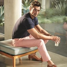 See David Gandy do summer style right for Marks & Spencer.. He's the only man who could wear pastel pink pants and get away with it.