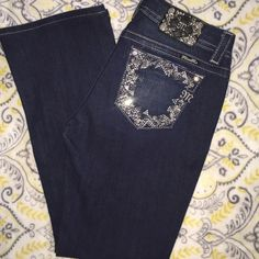 Miss Me 29/31 mid-rise easy boot Brand new w/o tags! Never worn! Super cute dark wash with lots of bling! Miss Me Jeans Boot Cut