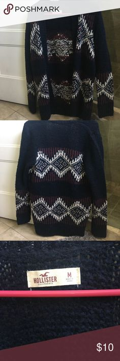 Hollister cardigan navy, maroon, and white bohemian printed cardigan, worn once, super cute for fall, or over your swimsuit to the beach. Hollister Sweaters Cardigans