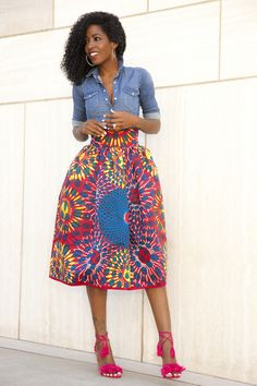 Fitted Denim Shirt + Printed Midi Skirt by stylepantry