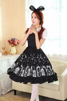 (Replica)Dream of Lolita Iron Window and Cats Printed Lolita Jumper Dress