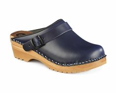 Johansson closed toe clog in Blue - The Johansson Adjustable Buckle Clog! The adjustable buckle swings so it can either be placed across the instep or behind the heel for a great fit.