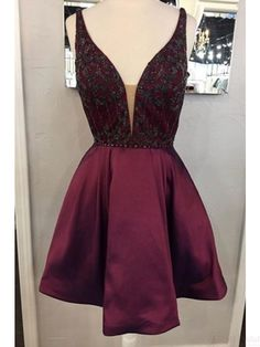 2017 v-neck homecoming dresses, short prom dresses, party dresses #SIMIBridal #promdresses