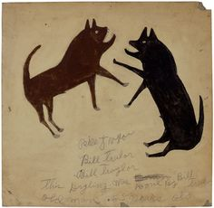"""Bill Traylor (1854-1949). Dog Fight with Writing. Poster Paint and Pencil on Cardboard. Circa 1939-1942. 21"""" x 22""""."""