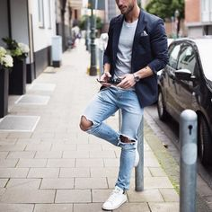 Navy blazer ripped jeans and @adidasoriginals #sneakers by @magic_fox [ http://ift.tt/1f8LY65 ]