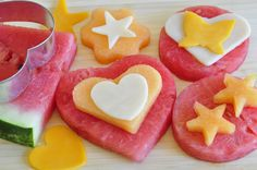 Fruit and Cheese shaped snack for kids! Use cookie cutters for a lot of fun and a yummy snack!