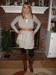 belt, sweater, boots