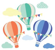 Hot Air Balloon and Cloud Wall Decals - Clouds and Balloons with Banners Fabric Wall Decals