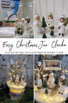 Christmas Jars, Christmas Signs, Simple Christmas, Christmas Home, Christmas Decorations, Church Decorations, Christmas Ideas, Faux Snow, Vintage Ornaments