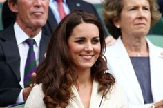 Kate looks on from the Royal Box on Centre Court during day nine of Wimbledon on July 4, 2012.