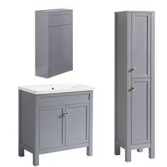 Bathroom Basin Sink Vanity Unit Traditional Tall Cabinet Storage BTW Toilet Grey · $84.99 Bathroom Tap Sets, Bathroom Ideas Uk, Bathroom Sink Units, Bathroom Basin, Bathroom Cabinets Over Toilet, Downstairs Toilet, Vanity Bathroom, Toilet Vanity Unit, Sink Vanity Unit