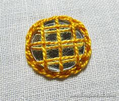 Variation 3b - Also can whip or lace the chain stitch - any kind of further embellishment U want to do!  This sample is worked w heavier thread, Pearl Cotton #5, can work as few as three vertical/ horizontal woven stitches holding down mirror.