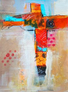 Cruciform 3 Abstract Collage Painting by Nancy Merkle; Original and Fine Art Reproduction Posters and Prints for Sale