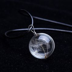 2016 Hot sale  Crystal Glass Ball Dandelion Necklace Long Strip Leather Chain Pendant Necklaces For Women Jewelry Gift