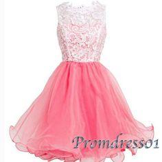 Cute pink tulle sleeveless halter prom dress, 2016 homecoming dress, short evening dress for teens, bridesmaid dress from #promdress01 #promdresses -> www.promdress01.c... #coniefox