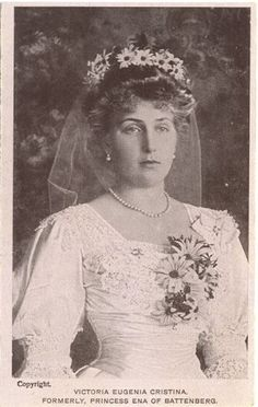 Queen Victoria Eugenie of Spain (just a short time before this wedding photo was taken, a bomb had killed a guard escorting her carriage from the church)