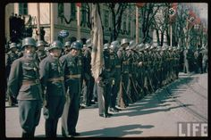 Austrian Army (Bundesheer) after the Anschluss 1938 (note the german Coat of arms on the Helmets and the Reichsadler) Standing At Attention, Army Uniform, The Third Reich, Poster Pictures, History Photos, Colorful Pictures, Life Images, Armed Forces, World War Ii