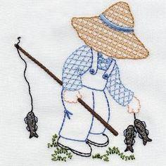 "* Gone Fishin""    Denim Dan.  Aunt Martha's  Embroidery.  OregonPatchWorks"