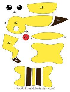 Patron para hacer un pikachu de peluche