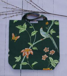 Gorg take on chinoiserie! Fall floral tote bags handcrafted from repurposed materials and reversible.slow fashion at its finest, for all yer stuff Floral Tote Bags, Slow Fashion, Chinoiserie, Repurposed, Fall, Style, Autumn, Stylus, Outfits