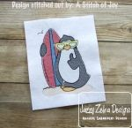 Penguin with Surf Board Sketch Embroidery Design