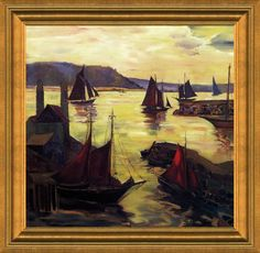 Seeking superior fine art prints of Red Sails in the Sunset by Fern Coppedge? Fine Art Prints, Framed Prints, Poster Prints, Canvas Prints, American Impressionism, Impressionist Artists, Hanging Posters, Ferns, Online Art