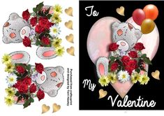 A beautiful Valentines card, it is an easy to make 3D decoupage A5 card front. Has a cute teddy holding red roses with balloons and a big pink heart, and can be sent to a man or a woman. and fits any A5 envelope when finished.use as is or dress it up. enjoy